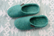 Load image into Gallery viewer, Flat Lay photo of Handmade Wool Slippers for Women on a patterned tablecloth