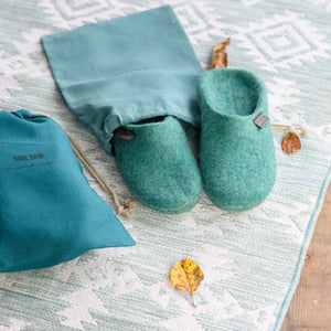 Womens Backless Closed Toe Slippers  Blue Lagoon in a Reusable Linen Package