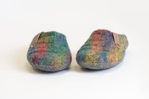 Easy slip on COCOON felted wool slippers Grey/Rainbow