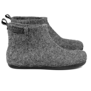 Dark Grey WOOBOOT mid ankle slippers with pull loop & short side cut