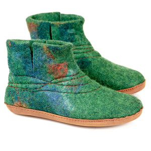Green WOOBOOT mid boots with sturdy stitching and short cut on side