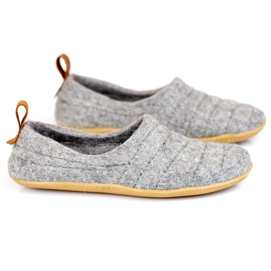 Grey COCOON woolen slippers with pull loop & sturdy stitching