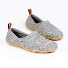 Load image into Gallery viewer, Grey COCOON woolen slippers with pull loop & sturdy stitching