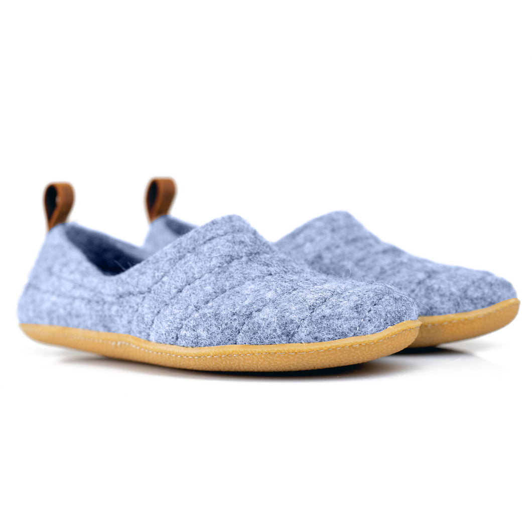 Light Blue COCOON slippers with pull loop and durable stitching on upper lining