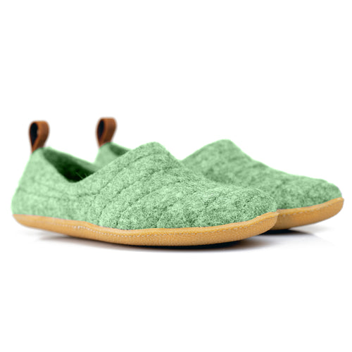 Pale Green COCOON slippers with pull loop and sturdy stitching