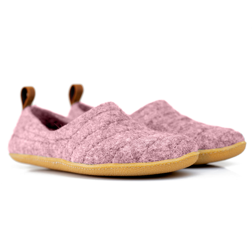 Pale Pink COCOON woolen slippers with leather pull loop and durable stitching on surface