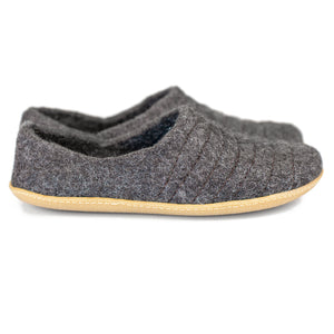 Dark Gray COCOON woolen slippers with durable stitching on surface