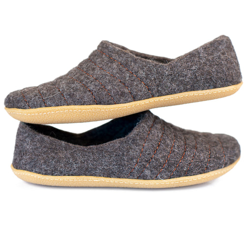 Dark Brown COCOON woolen slippers with sturdy stitching on surface