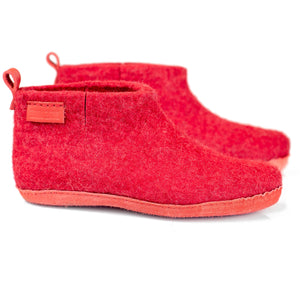 Red WOOBOOT mid ankle slippers with pull loop & short side cut