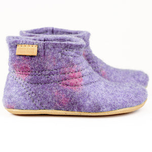 lilac felted wool middle ankle boots with sturdy stitching and short side cuts