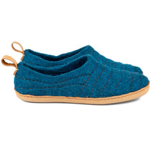 Load image into Gallery viewer, Petrol dark COCOON felted wool slippers with pull loop