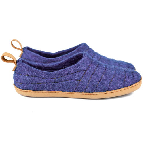 Purple COCOON wool slippers with leather pull loop & sturdy stitching on upper lining
