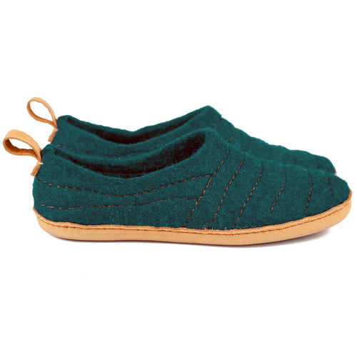 Dark cyan COCOON slippers with pull loop
