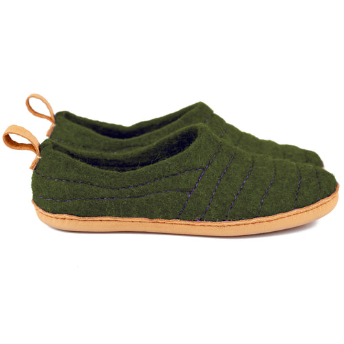 Moos Green COCOON wool slippers with upper lining stitching & pull loop