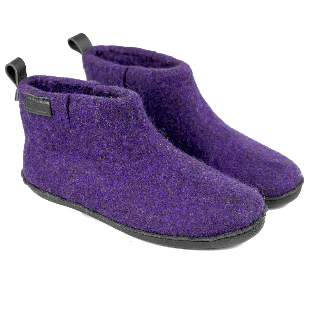 Purple WOOBOOT mid ankle slippers with pull loop & short side cut