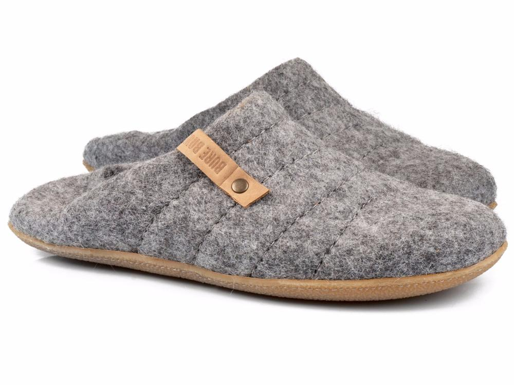 Natural Gray easy slip on & off COCOON slippers switch into woolen low back clogs for women