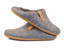 Load image into Gallery viewer, Natural gray collapsible back slippers for women with their backs folded