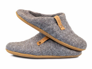 Natural gray collapsible back slippers for women with their backs folded