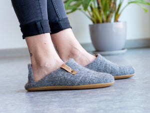 Natural gray collapsible back  woolen slippers on woman's feet