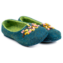 Load image into Gallery viewer, BureBute hand felted flat slippers with indian silk ribbons decoration