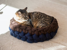 Load image into Gallery viewer, CHUNKY blue/brown merino cat cot ideally shaped for cats. Healthy and unique handcrafted bed