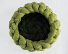 Load image into Gallery viewer, CHUNKY apple green round felted wool cat bed, cozy pet furniture