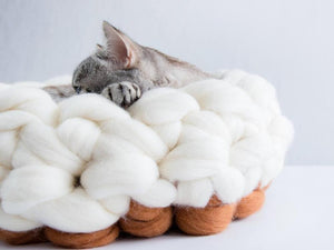 CHUNKY white/sienna hand knitted kitty bed made from pure wool, Healthy option for cats