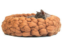 Load image into Gallery viewer, CHUNKY Brown Yellow hand knitted cats bed. Round woolen sleeping spot