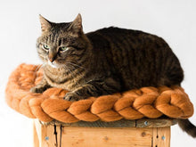 Load image into Gallery viewer, Rectangular CHUNKY Orange cat mat made from pure wool by BureBure