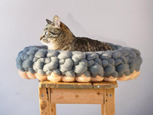 Load image into Gallery viewer, CHUNKY Peach Blue oval bed for cats handmade woolen furniture