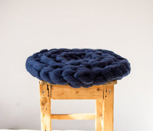 CHUNKY Dark blue hand knitted round kitty mat, woolen healthy natural