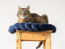 Load image into Gallery viewer, CHUNKY Dark blue hand knitted round kitty mat, woolen healthy natural