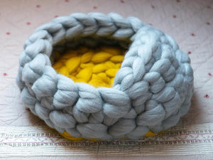 CHUNKY Gray/yellow hand knitted kitty bed-shelter with mini cover, soft & round shape