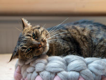 Load image into Gallery viewer, CHUNKY pink/gray hand knitted kitty bed-shelter with mini cover, soft & cozy spot for sleeping