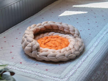 Load image into Gallery viewer, Cat mat with back support CHUNKY Beige/Orange
