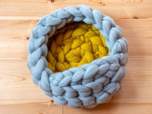Load image into Gallery viewer, CHUNKY Gray/yellow hand knitted kitty bed-shelter with mini cover, soft & round shape