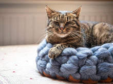 Load image into Gallery viewer, Chunky Grey/Orange round cat bed made from natural wool. Soft cats furniture