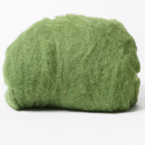 Green Olive Wool for Wet Felting, Tyrolean Bergschaf