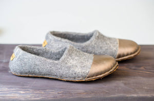 Golden WOOCAPS handcrafted boiled wool slippers with recycled leather toe cap