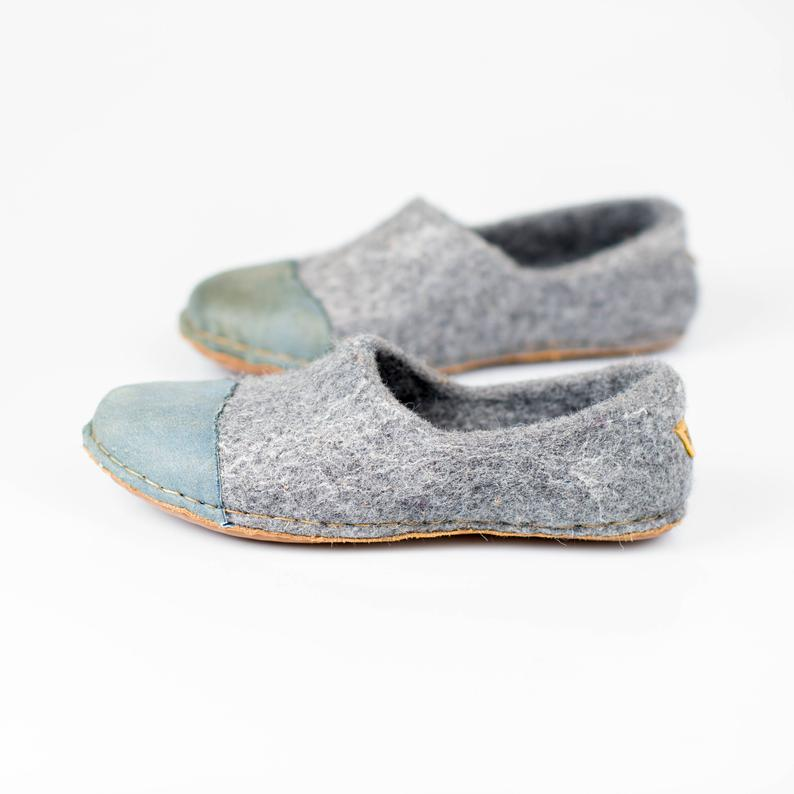 Light Grey WOOCAP felted wool slippers with denim style leather toe caps