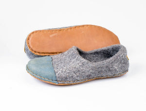 Denim Toe Felted Wool Clogs Slippers WOOCAPS  with hand-stitched leather soles