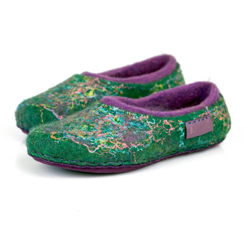 Green purple spring woolen slippers with colorful linen threads
