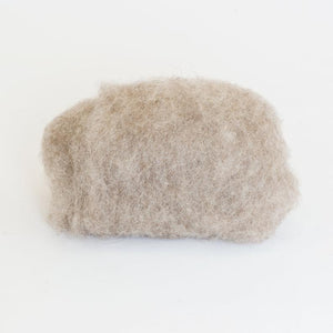 Carded, but Unbleached Natural Light Beige Tyrolean Sheep Wool Batt for Wet Felting Workshops. Produced in Europe
