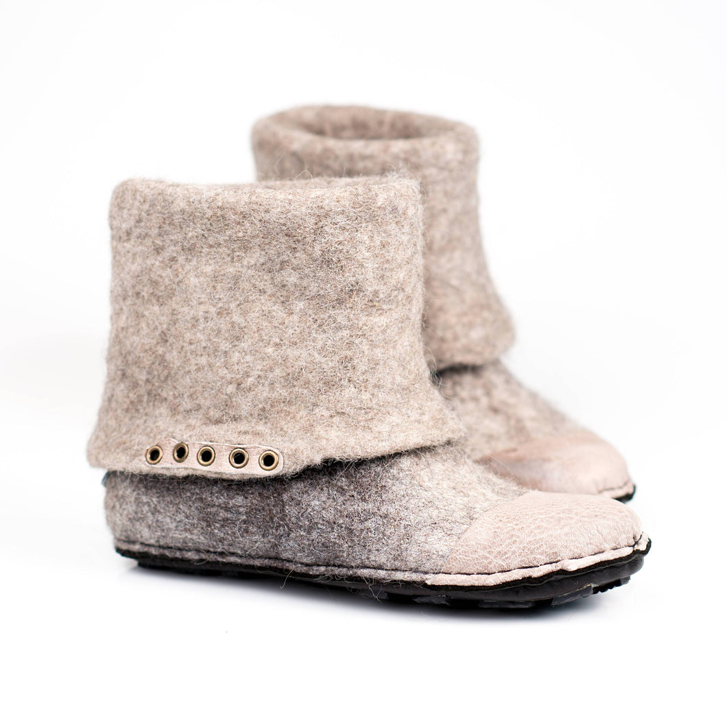 Womens woolen ankle boots with Alpaca wool and double ankle cover