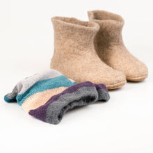 Load image into Gallery viewer, Beige ankle boots with colorful hand knitted leg warmers