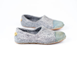 Natural undyed grey clogs for women with denim toe leather WOOCAPS