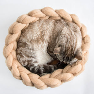 CHUNKY beige/brown hand knitted round bed for cats. Perfect spot for hiding,
