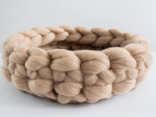 Load image into Gallery viewer, CHUNKY beige/brown hand knitted round bed for cats. Perfect spot for hiding,