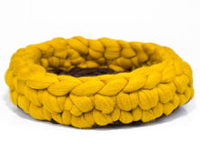 Load image into Gallery viewer, CHUNKY yellow/brown hand knitted kitty bed-basket. Rounded shape, perfect home detail