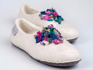 White felted wool slippers for her with indian silk ribbons and soft alpaca wool